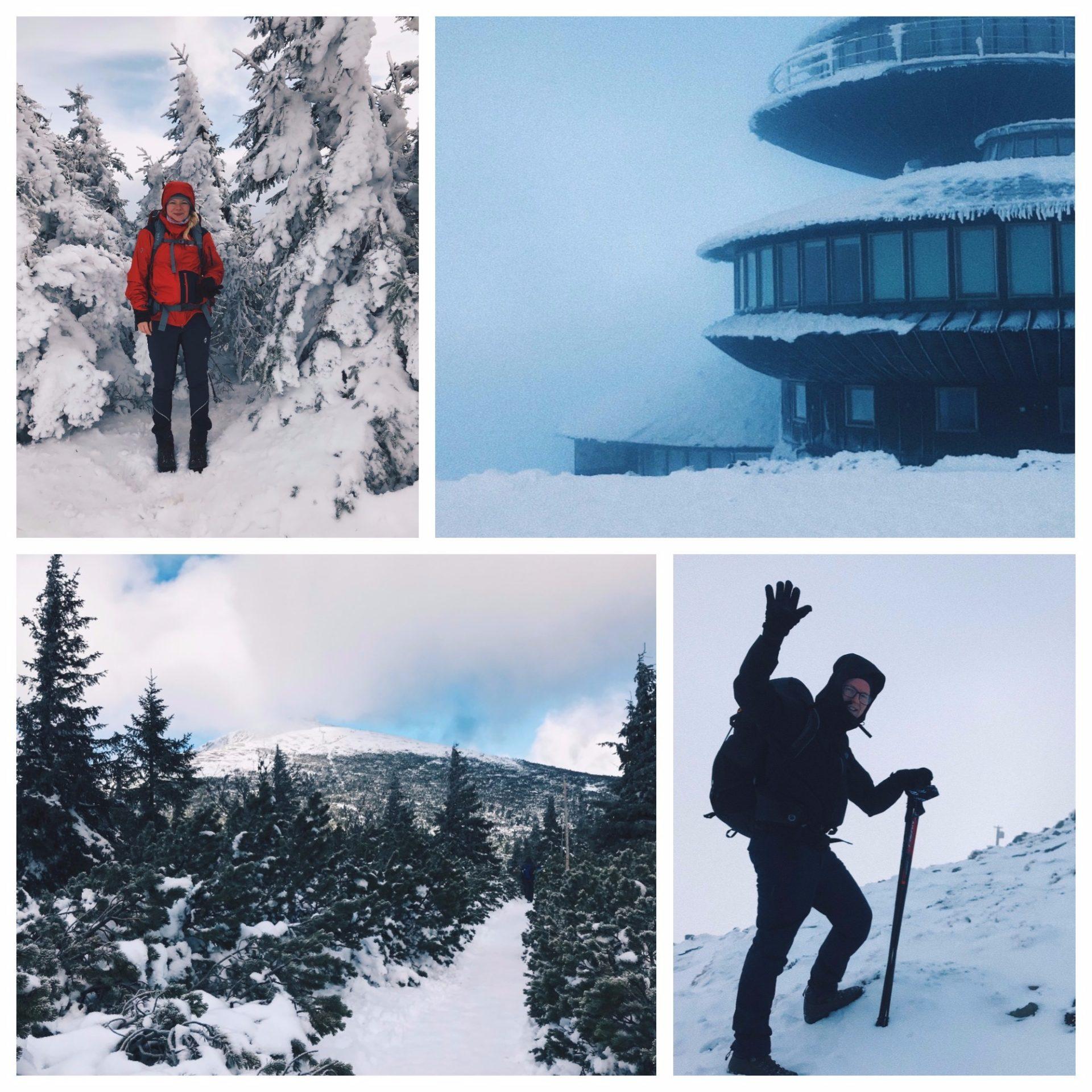 sněžka, hory, krkonoše, turistika, sníh