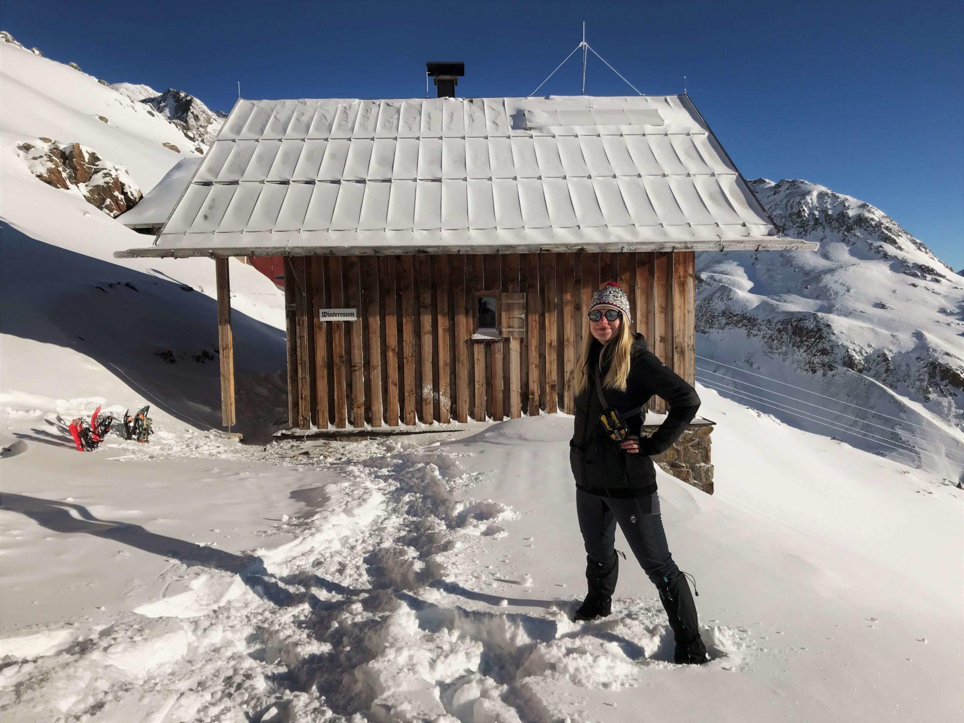 hory, alpy, sníh, zima, vysokohorská turistika, sněžnice, breslauer hutte, tyrolsko