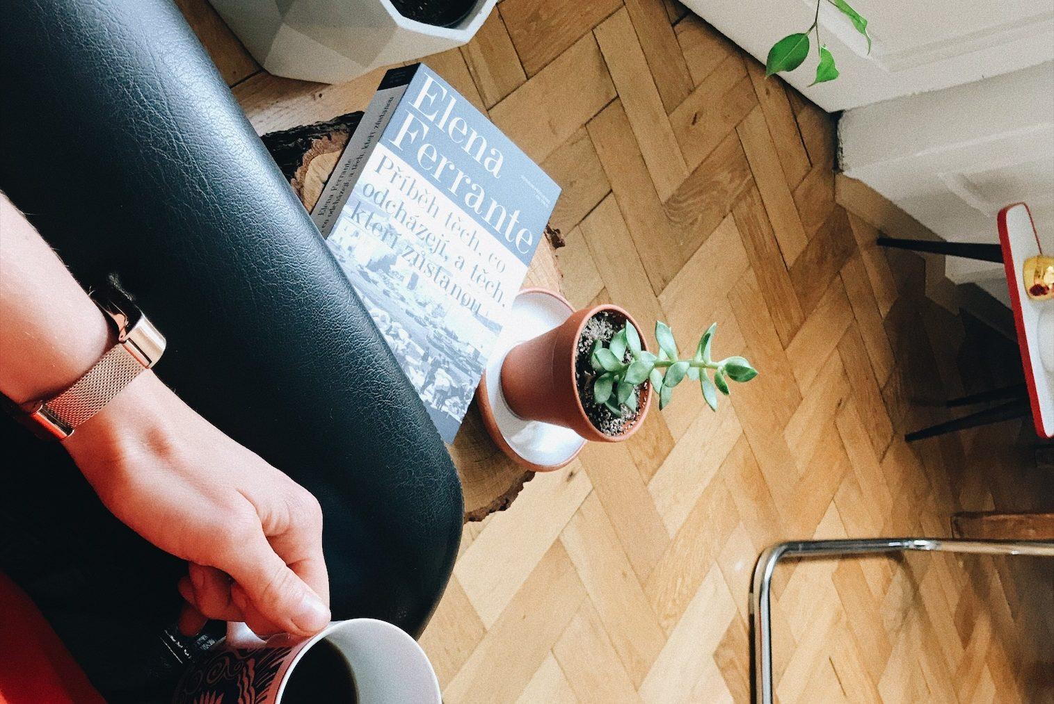 elena ferrante, kniha, káva, sukulent, odpočinek, vstávání, ráno, únava, číst